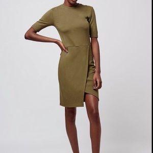 Topshop khaki wrap dress